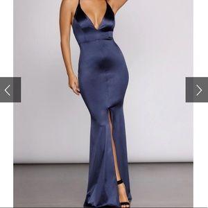 Long Satin Strappy Formal Gown, Deep V Plunge Neck